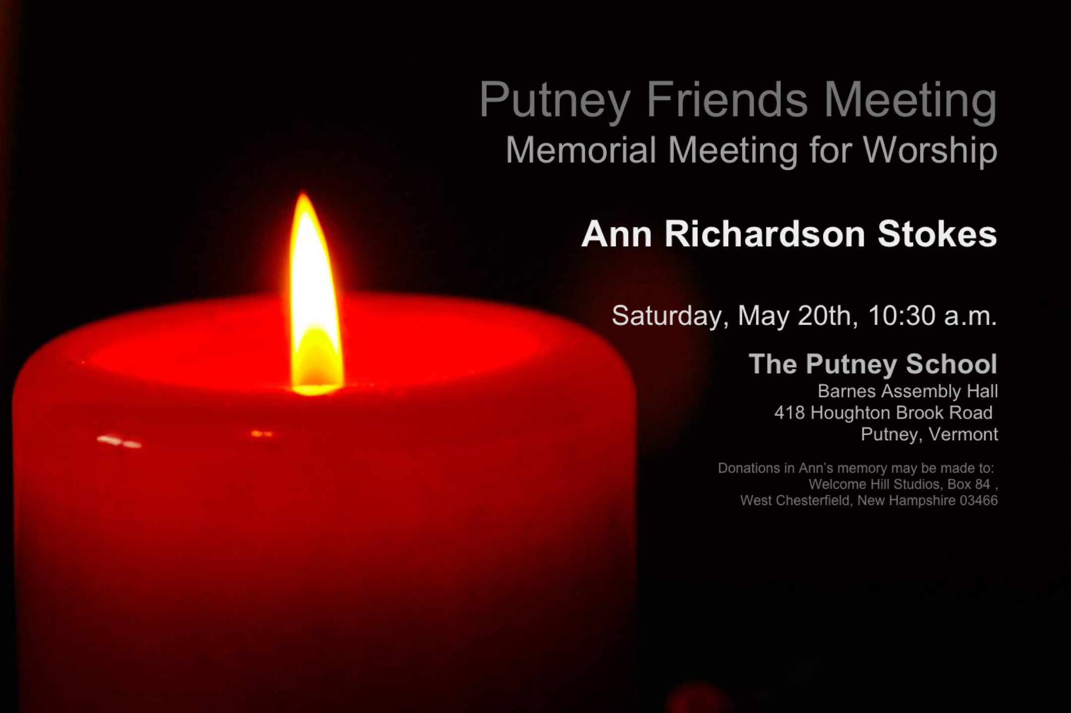 Ann Stokes Memorial Meeting
